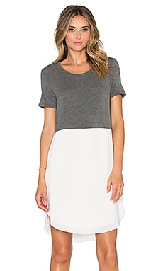 Splendid Rayon Voile Colorblock Dress in Dark Heather Grey & Pearl