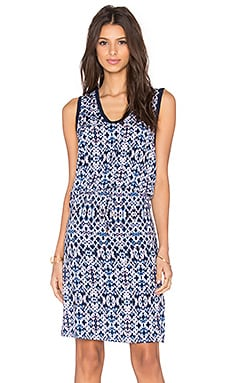 Splendid Ikat Print Tie Waist Dress in Navy Multi