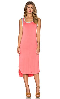 Splendid Midi Tank Dress in Coral Pink & Heather Grey