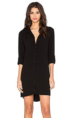 Button Down Shirt Dress in Black