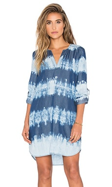 Splendid Wilder Tencel Dress in Indigo Dark Stripe Dye