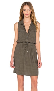 Marina Pinstripe Dress in Military Olive
