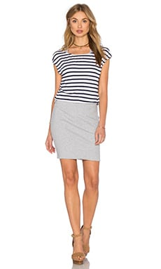 Venice Stripe Dress in Navy & Heather Grey