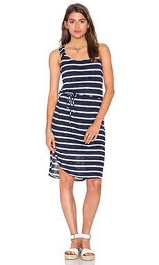 Huntington Stripe Rib Tank Dress en Marine & Blanc