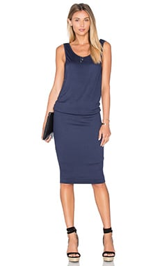 Textured Jersey Midi Dress in Navy
