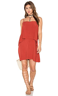 Sleeveless Overlay Mini Dress in Brick Red