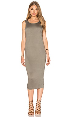Splendid Textured Jersey Midi Dress in Military Olive