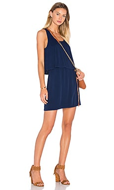 Rayon Voile Sleeveless Overlay Dress en Academy Navy