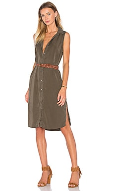 Splendid Wilder Tencel & Chambray Button Up Dress in Military Olive