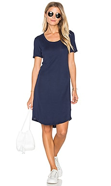 Codette Mini Variegated Rib Stripe T Shirt Mini Dress in Academy Navy