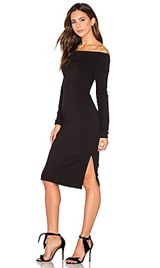 Off Shoulder French Terry Dress in Black