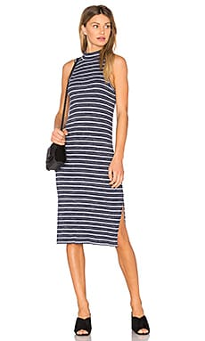 Striped Space Dye Rib Dress in Navy