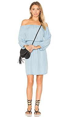 Off Shoulder Mini Dress in Light Wash