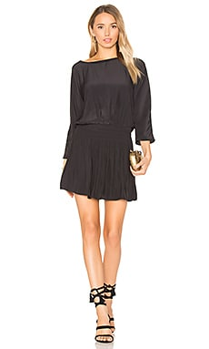 Washed Cinched Waist Dress in Black