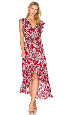 Etched Floral Wrap Dress in Beet Red