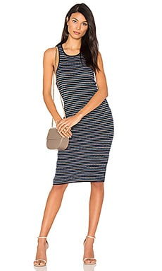 Stripe Rib Knit Tank Dress in Navy