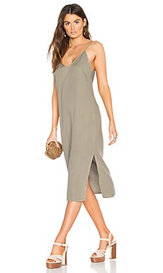 Slit Tank Dress in Military Olive