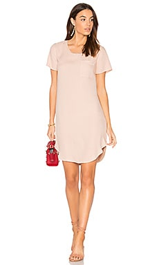 Mixed Media Shirt Dress in Pink Beige