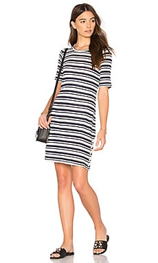 Topsail Stripe Shirt Dress in White & Navy
