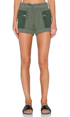 Splendid Double Cloth Drawstring Short in Dusty Olive