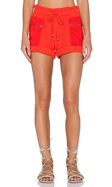 Splendid Double Cloth Drawstring Short in Poppy Red