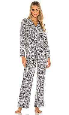 Notch Collar Leopard Knit PJ Set Splendid $78