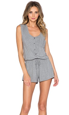 Splendid Slouchy Short Romper in Marled Heather Grey