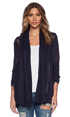 Splendid Seaside Loose Knit Cardigan in Navy