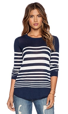 Splendid Highland Stripe Sweater in Navy & White