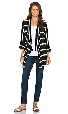 Splendid Salina Stripe Loose Knit Cardigan in Black
