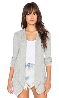 Splendid Rib Hooded Cardigan in Heather Grey