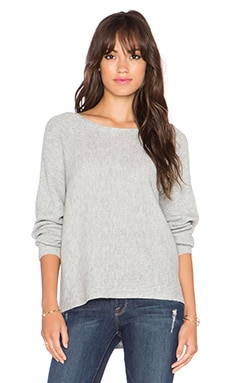 Splendid Striped Ribbed Sweater in Heather Grey