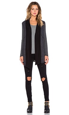 Splendid Heathered Thermal Cardigan in Black