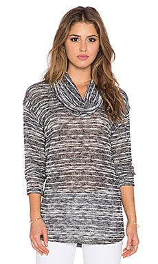 Splendid Upstate Loose Knit Sweater in Black