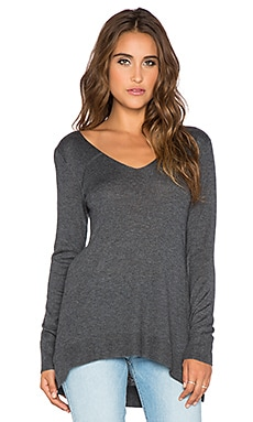 Splendid Cashmere Blend Sweater in Heather Charcoal
