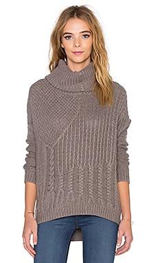 Splendid Stanton Cable Turtleneck Sweater in Mink