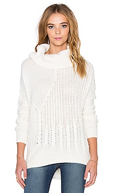 Splendid Stanton Cable Turtleneck Sweater in Natural