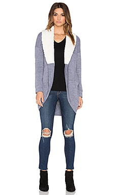 Splendid Faux Sherpa Cardigan in Heather Grey Natural