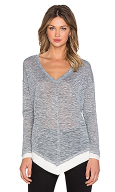 Splendid Melange V Neck Sweater in Heather Grey