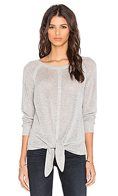 Splendid Tie Front Sweater in Light Heather Grey