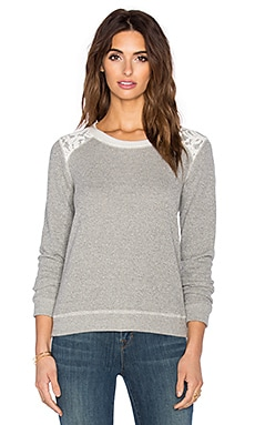 Splendid Lace Sweater in Heather Grey