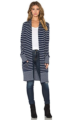Needle Stripe Cardigan in Navy & Natural
