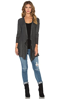 Splendid Alcove Double Face Jersey Waterfall Cardigan in Charcoal