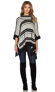 Sonoran Stripe Loose Knit Poncho in Black & Natural