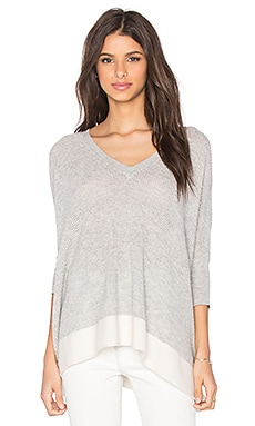 Splendid Cruz Color Block Sweater in Light Grey & Neutral