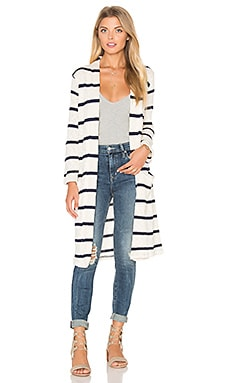 Tucson Striped Loose Knit Cardigan in Blue Shadow