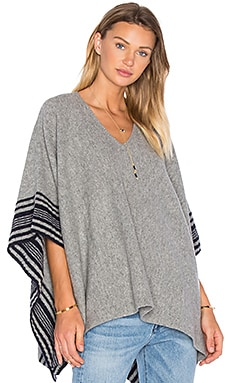 Splendid Optique Poncho in Heather Grey & Navy