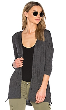 Cashmere Blend Lace Up Cardigan in Graphite