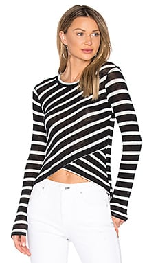 Stripe Crossfront Top in Black