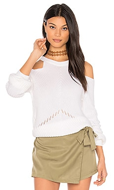 Belle Cold Shoulder Sweater in White